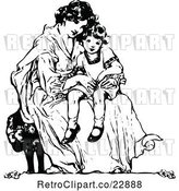 Vector Clip Art of Retro Mother Sitting with Her Daughter by Prawny Vintage