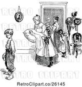 Vector Clip Art of Retro Mother with a Baby and KChildren by Prawny Vintage