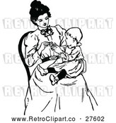 Vector Clip Art of Retro Mother with a Baby in Her Lap by Prawny Vintage