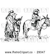 Vector Clip Art of Retro Mother with a Dog and Girl on Donkeys by Prawny Vintage