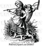 Vector Clip Art of Retro Mother with a Rake Dog and Baby in a Basket by Prawny Vintage