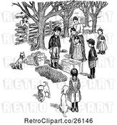 Vector Clip Art of Retro Mother with Children Around a Dog Grave by Prawny Vintage