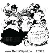 Vector Clip Art of Retro Mothers Spanking Their Sons by Prawny Vintage