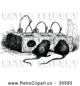 Vector Clip Art of Retro Mouse Trap and Mice by Prawny Vintage