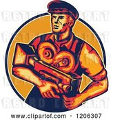 Vector Clip Art of Retro Movie Director Camera Guy in a Lined Circle by Patrimonio