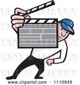 Vector Clip Art of Retro Movie Director Holding a Clapper Board by Patrimonio