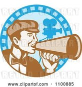 Vector Clip Art of Retro Movie Director Shouting Through a Cone on a Blue Camera Circle by Patrimonio