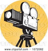Vector Clip Art of Retro Movie Film Camera over Orange Rays by Patrimonio