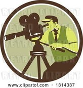 Vector Clip Art of Retro Movie Maker Camera Guy Working with a Tripod in a Brown White and Green Circle by Patrimonio
