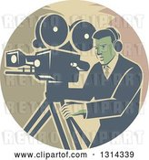Vector Clip Art of Retro Movie Maker Camera Guy Working with a Tripod in a Circle by Patrimonio