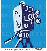 Vector Clip Art of Retro Movie Video Camera on a Tripod over Blue by Patrimonio