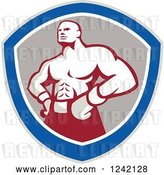 Vector Clip Art of Retro Muscular Boxer Guy in a Shield by Patrimonio