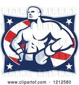Vector Clip Art of Retro Muscular Boxer over American Stars and Stripes by Patrimonio