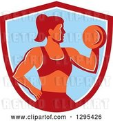Vector Clip Art of Retro Muscular Fit Lady Working out with a Dumbbell and Doing Bicep Curls in a Red White and Blue Shield by Patrimonio