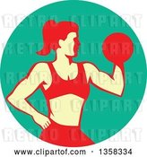 Vector Clip Art of Retro Muscular Fit Lady Working out with a Dumbbell and Doing Bicep Curls in a Turquoise Circle by Patrimonio