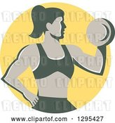 Vector Clip Art of Retro Muscular Fit Lady Working out with a Dumbbell and Doing Bicep Curls in a Yellow Circle by Patrimonio