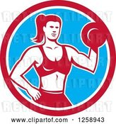 Vector Clip Art of Retro Muscular Fit Lady Working out with a Dummbell in a Red White and Blue Circle by Patrimonio