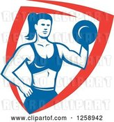 Vector Clip Art of Retro Muscular Fit Lady Working out with a Dummbell in a Red White and Blue Shield by Patrimonio