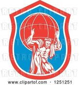 Vector Clip Art of Retro Muscular Guy, Atlas, Carrying a Globe in a Blue and Red Shield by Patrimonio