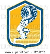 Vector Clip Art of Retro Muscular Guy, Atlas, Carrying a Globe in a Blue and Yellow Shield by Patrimonio