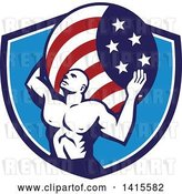 Vector Clip Art of Retro Muscular Guy, Atlas, Carrying an American Flag Globe on His Back in a Blue and White Shield by Patrimonio