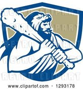 Vector Clip Art of Retro Muscular Guy, Hercules, Wearing a Lion Skin and Holding a Club in a Blue White and Tan Shield by Patrimonio