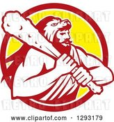Vector Clip Art of Retro Muscular Guy, Hercules, Wearing a Lion Skin and Holding a Club in a Red White and Yellow Circle by Patrimonio