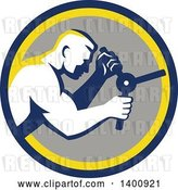 Vector Clip Art of Retro Muscular Guy Opening a Safe in a Blue Yellow and Gray Circle by Patrimonio