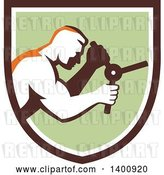 Vector Clip Art of Retro Muscular Guy Opening a Safe in a Brown White and Green Shield by Patrimonio