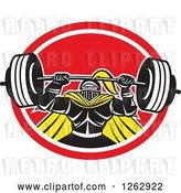 Vector Clip Art of Retro Muscular Knight Doing Squats and Working out with a Barbell in a Red and White Oval by Patrimonio