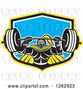 Vector Clip Art of Retro Muscular Knight Doing Squats and Working out with a Barbell in a Yellow Black White and Blue Shield by Patrimonio