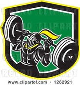Vector Clip Art of Retro Muscular Knight Doing Squats and Working out with a Barbell in a Yellow Black White and Green Shield by Patrimonio