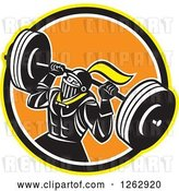 Vector Clip Art of Retro Muscular Knight Doing Squats and Working out with a Barbell in a Yellow Black White and Orange Circle by Patrimonio