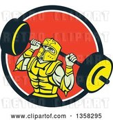 Vector Clip Art of Retro Muscular Knight in Full Armor, Doing Squats and Working out with a Barbell in a Black White and Red Circle by Patrimonio