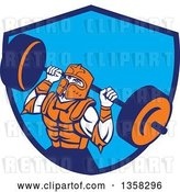 Vector Clip Art of Retro Muscular Knight in Full Armor, Doing Squats and Working out with a Barbell in a Blue Shield by Patrimonio