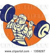 Vector Clip Art of Retro Muscular Knight in Full Armor, Doing Squats and Working out with a Barbell in an Orange Circle by Patrimonio