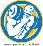 Vector Clip Art of Retro Muscular Male Bodybuilder Lifting Weights in a Yellow Blue and White Circle by Patrimonio