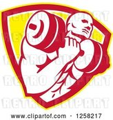Vector Clip Art of Retro Muscular Male Bodybuilder Lifting Weights in a Yellow White and Red Shield by Patrimonio