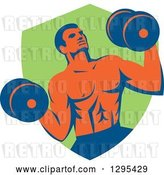 Vector Clip Art of Retro Muscular Male Crossfit Bodybuilder with Dumbbells Emerging from a Green Shield by Patrimonio