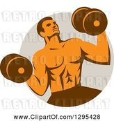 Vector Clip Art of Retro Muscular Male Crossfit Bodybuilder with Dumbbells Emerging from a Taupe Circle by Patrimonio