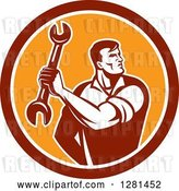Vector Clip Art of Retro Muscular Male Mechanic Holding a Wrench in a Red White and Orange Circle by Patrimonio