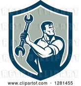 Vector Clip Art of Retro Muscular Male Mechanic Holding a Wrench in a Shield by Patrimonio