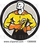 Vector Clip Art of Retro Muscular Super Hero Plumber Holding a Monkey Wrench in a Black White and Gray Circle by Patrimonio
