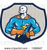 Vector Clip Art of Retro Muscular Super Hero Plumber Holding a Monkey Wrench in a Blue White and Taupe Shield by Patrimonio