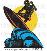 Vector Clip Art of Retro Muscular Surfer Dude Riding a Wave by Patrimonio