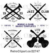 Vector Clip Art of Retro Music and Club Badge Labels with Sample Text by BestVector