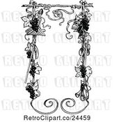 Vector Clip Art of Retro Music and Grape Vine Frame by Prawny Vintage
