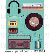 Vector Clip Art of Retro Music Equipment and Elements on Turquoise by BNP Design Studio