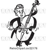 Vector Clip Art of Retro Musician Facing Right and Playing a Bass by BestVector