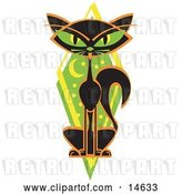 Vector Clip Art of Retro Mysterious Thin Black Cat Sitting in Front of a Green Diamond with the Moon and Stars by Andy Nortnik